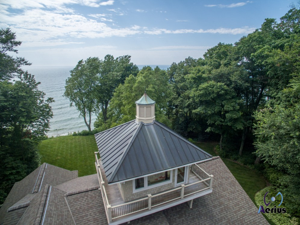 House overlooking Lake Michigan captured by Aerius Flight, LLC