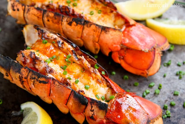 Grilled Lobster Tails with Sriracha Butter - afarmgirlsdabbles.com # ...