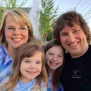 Jennifer Stimpson with her husband, Mike, and her beautiful daughters, Gracie and Callie