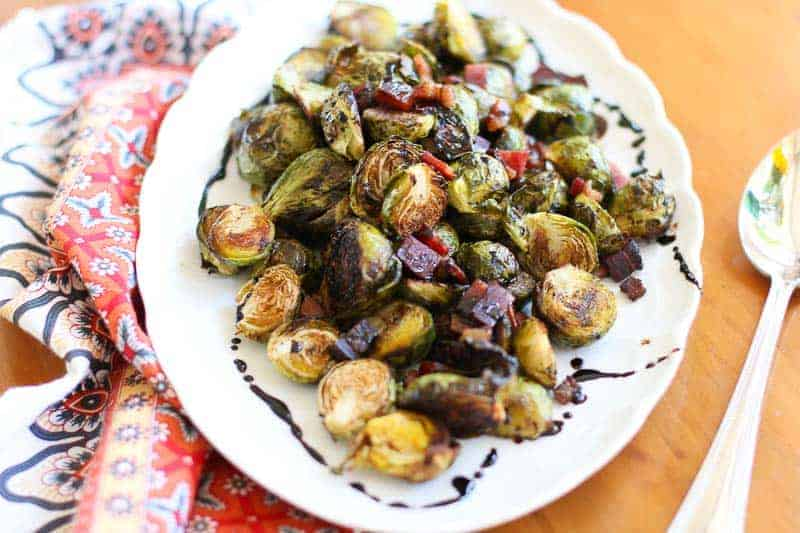 Roasted Brussels Sprouts with Speck Ham & Balsamic Glaze