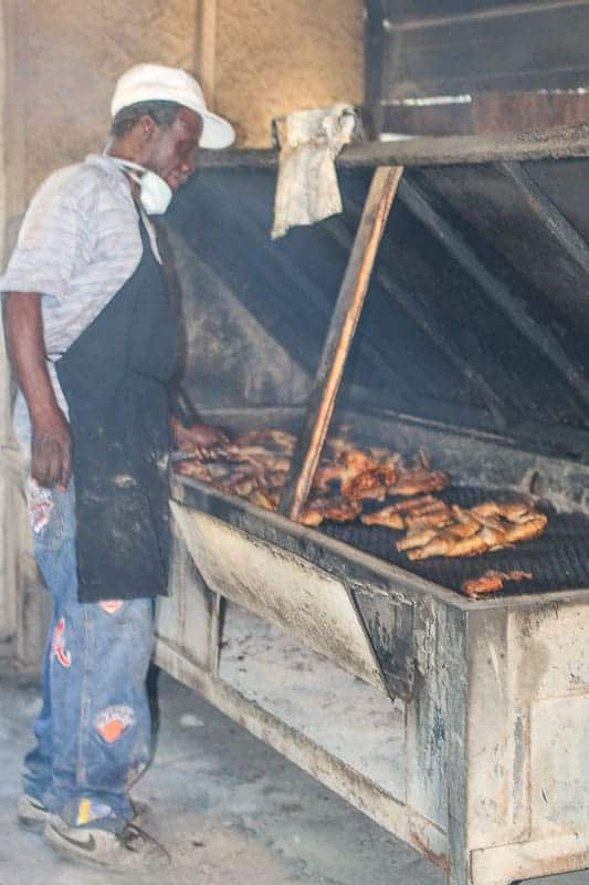 Pitmaster cooking chicken at B's Barbecue in Greenville, NC