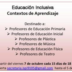 """Capacitación """"Educación Inclusiva. Contextos de aprendizaje"""""""