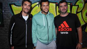 Jo Wilfried Tsonga (Fra) avec Nicolas Escude et Thierry Ascione