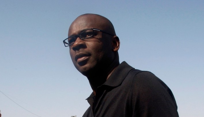 Former French soccer player Thuram attends an inauguration ceremony in Al-Bireh near Ramallah