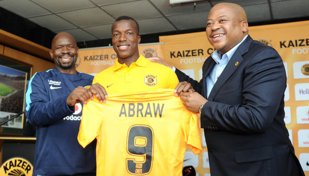 Camaldine Abraw being welcomed by Steve Komphela coach of Kaizer Chiefs and Bobby Motaung during the Kaizer Chiefs Press Conference on 23 June 2015 at Kaizer Chiefs Village Pic Sydney Mahlangu/BackpagePix