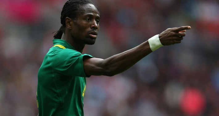 LONDON, ENGLAND - JULY 29:  Abdoulaye Ba of Senegal reacts during the Men's Football first round Group A Match between Senegal and Uruguay on Day 2 of the London 2012 Olympic Games at Wembley Stadium on July 29, 2012 in London, England.  (Photo by Julian Finney/Getty Images)
