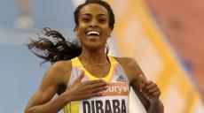 Genzebe Dibaba ( Ethiopie ) record du monde en salle du 2 miles en 9'0''48