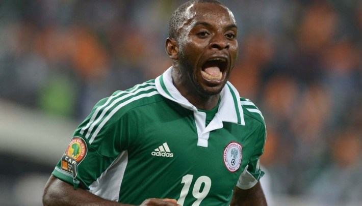 SOWETO, SOUTH AFRICA - FEBRUARY 10, Sunday Mba of Nigeria celebrates his goal during the 2013 Orange African Cup of Nations Final match between Nigeria and Burkina Faso from the National Stadium on Februay 10, 2013 in Soweto, South Africa Photo by Lee Warren / Gallo Images