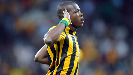 Camaldine Abraw of Kaizer Chiefs celebrates a goal during the Telkom Knockout Quarter Final match between Black Aces and Kaizer Chiefs on 24 October 2015 at Mbombela Stadium Pic Sydney Mahlangu/ BackpagePix