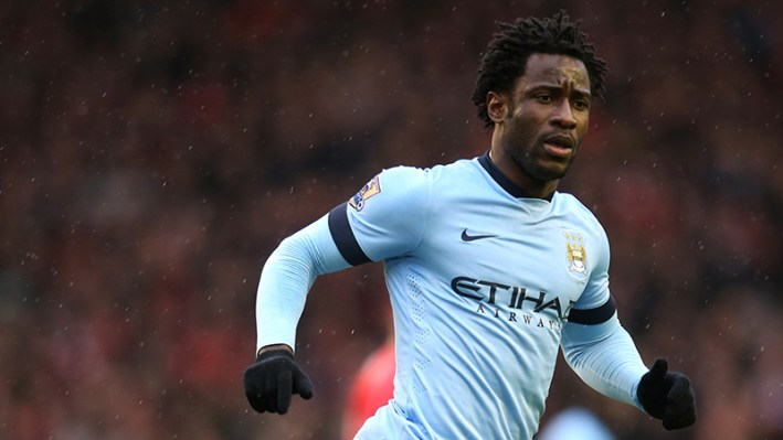 Manchester City's Wilfried Bony during the Barclays Premier League match at Anfield, Liverpool.