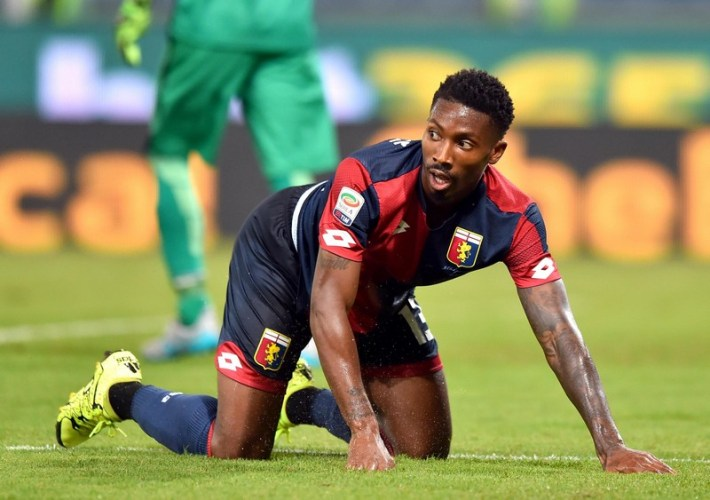 Genoas Togolese forward Serge Gakpe during the Italian Serie A soccer match Genoa Cfc vs Hellas Verona Fc at Luigi Ferraris Stadium in Genoa, Italy, 30 August 2015 ANSA/SIMONE ARVEDA