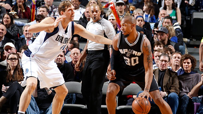 DALLAS, TX - FEBRUARY 5: David West #30 of the San Antonio Spurs posts up against Dirk Nowitzki #41 of the Dallas Mavericks on February 5, 2016 at the American Airlines Center in Dallas, Texas. NOTE TO USER: User expressly acknowledges and agrees that, by downloading and or using this photograph, User is consenting to the terms and conditions of the Getty Images License Agreement. Mandatory Copyright Notice: Copyright 2016 NBAE (Photo by Danny Bollinger/NBAE via Getty Images)