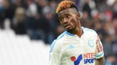 Marseille's French midfielder Georges-Kevin Nkoudou  reacts at the end of the French L1 football match between Olympique de Marseille (OM) and Lorient at the Velodrome stadium in Marseille on October 18, 2015. AFP PHOTO / BORIS HORVAT