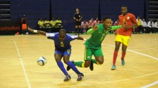 Josiah Tshabalala of South Africa is challenged by Nelson Joao Luvala of Mozambique during the Futsal African Cup of Nations match between South Africa and Mozambique on 15 April 2016 at Ellis Park Stadium Pic Sydney Mahlangu/ BackpagePix