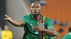 Collins Mbesuma of Zambia celebrates his goal during the Nelson Mandela Challenge South Africa and Zambia on the 14 November at FNB Stadium ©Samuel Shivambu/BackpagePix