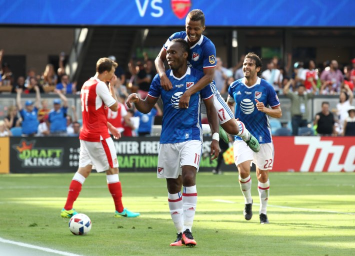 Jul 28, 2016; San Jose, CA, USA; MLS All-Star Team forward Didier Drogba (11) celebrates with midfielder Giovani Dos Santos (17) after scoring a goal against Arsenal in the first half during the 2016 MLS All-Star Game at Avaya Stadium. Mandatory Credit: Kelley L Cox-USA TODAY Sports