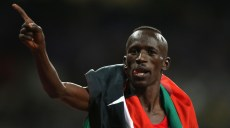 LONDON, ENGLAND - AUGUST 05:  Ezekiel Kemboi of Kenya celebrates winning gold in the Men's 3000m Steeplechase on Day 9 of the London 2012 Olympic Games at the Olympic Stadium on August 5, 2012 in London, England.  (Photo by Ezra Shaw/Getty Images)