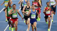 RIO DE JANEIRO, BRAZIL - AUGUST 20:  Matthew Centrowitz of the United States leads Taoufik Makhloufi of Algeria during the Men's 1500 meter Final on Day 15 of the Rio 2016 Olympic Games at the Olympic Stadium on August 20, 2016 in Rio de Janeiro, Brazil.  (Photo by Shaun Botterill/Getty Images)