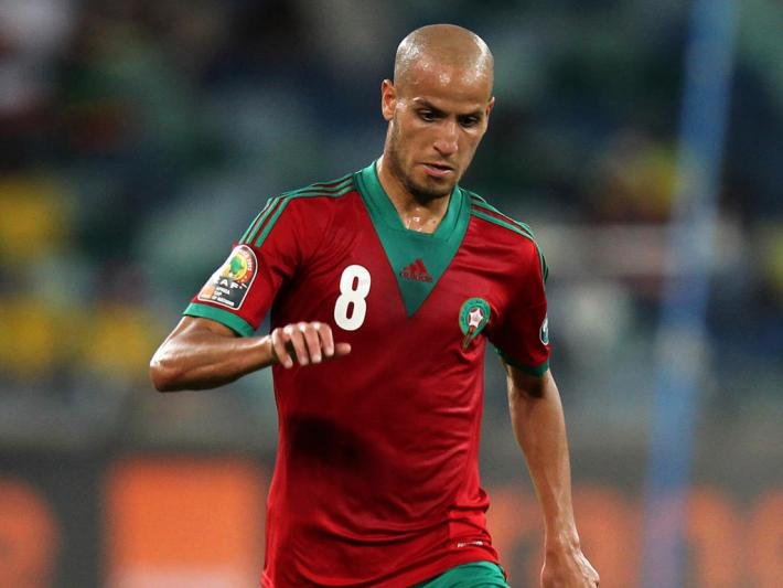 DURBAN, SOUTH AFRICA - JANUARY 23:  Karim el Ahmadi Aroussi of Morocco during the 2013 African Cup of Nations match between Morocco and Cape Verde Islands from Moses Mabhida Stadium on January 23, 2012 in Durban, South Africa.  (Photo by Anesh Debiky/Gallo Images/Getty Images)