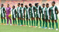 PIC. 6. SUPER FALCONS OBSERVE 'A MINUTE SILENCE' IN HONOUR OF THE TEAM'S MEDIAOFFICER, LATE GRACIOUS AKUJOBI, BEFORE THE RIO 2016 OLYMPIC QUALIFIER BETWEENNIGERIA AND EQUATORIAL GUINEA IN ABUJA ON SATURDAY (18/7/15). 5432/18/7/2015/BJO/NAN