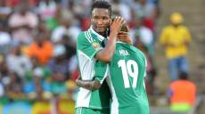 Sunday Mba of Nigeria celebrates his goal with his teammate John Obi Mikel of Nigeria  during the 2013 Orange Africa Cup of Nations Quarter-Final soccer match,  Ivory Coast Vs Nigeria at the Royal Bafokeng Stadium in Rustenburg, South Africa on February 3, 2013. Photo by Sports Inc/PA Photos/ABACAPRESS.COM
