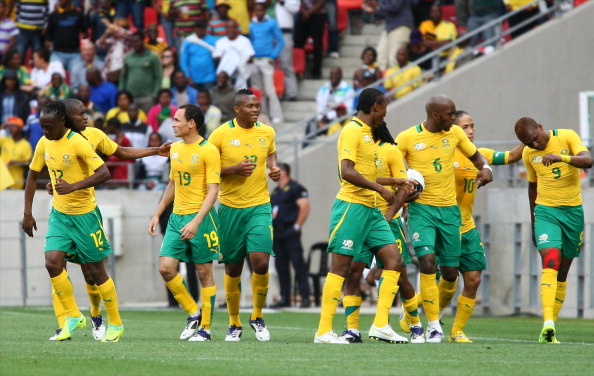 PORT ELIZABETH, SOUTH AFRICA - NOVEMBER 12: Bafana Bafana celebrate a goal during the Nelson Mandela Challenge match between South Africa and Ivory Coast at Nelson Mandela Bay Stadium on November 12, 2011 in Port Elizabeth, South Africa. (Photo by Richard Huggard/Gallo Images/Getty Images)