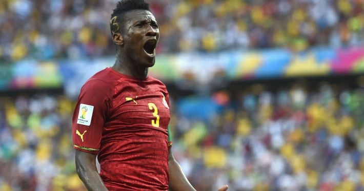 FORTALEZA, BRAZIL - JUNE 21:  Asamoah Gyan of Ghana celebrates scoring his team's second goal during the 2014 FIFA World Cup Brazil Group G match between Germany and Ghana at Castelao on June 21, 2014 in Fortaleza, Brazil.  (Photo by Laurence Griffiths/Getty Images)