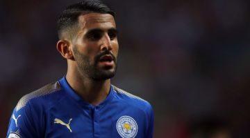 HONG KONG - JULY 19: Riyad Mahrez of Leicester City during the Premier League Asia Trophy match between Leicester City and West Bromwich Albion at Hong Kong Stadium on July 19, 2017 in Hong Kong, Hong Kong.  (Photo by Stanley Chou/Getty Images)