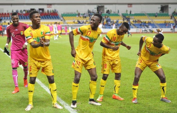 Mali players celebrates a victory during the 2017 Under 17 Africa Cup of Nations Finals football match between Mali and Angola at the Libreville Stadium in Gabon on 21 May 2017 ©Samuel Shivambu/BackpagePix