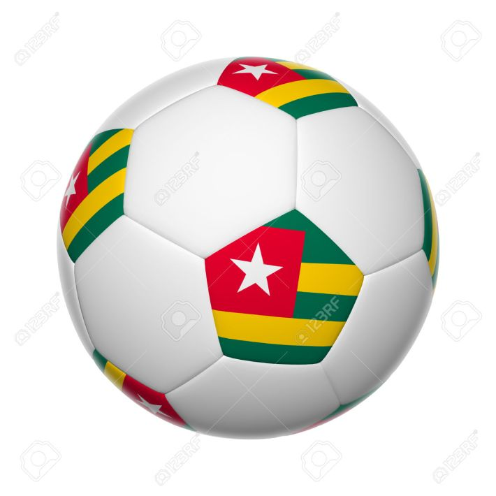 Flags on soccer ball of Togo