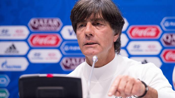 Germany's coach Joachim Loew speaks at the final press conference on the Confederations Cup semi final in Sochi, Russia, 28 June 2017. Photo: Marius Becker/dpa