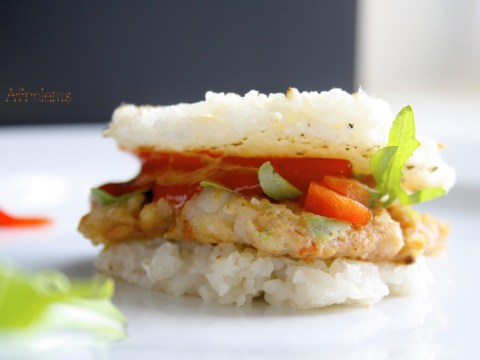 rice burger and shrimp patties