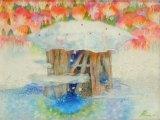 コロボックルの島から5 - 氷上の森で(ガラス・水彩 4号)