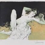 ジャン・ジャンセン「片膝を立てる裸婦」(リトグラフ)