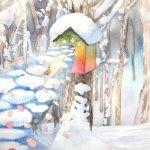 小島加奈子「コロボックルの島から3 – 冬のむこうから」(水彩 変形5号)
