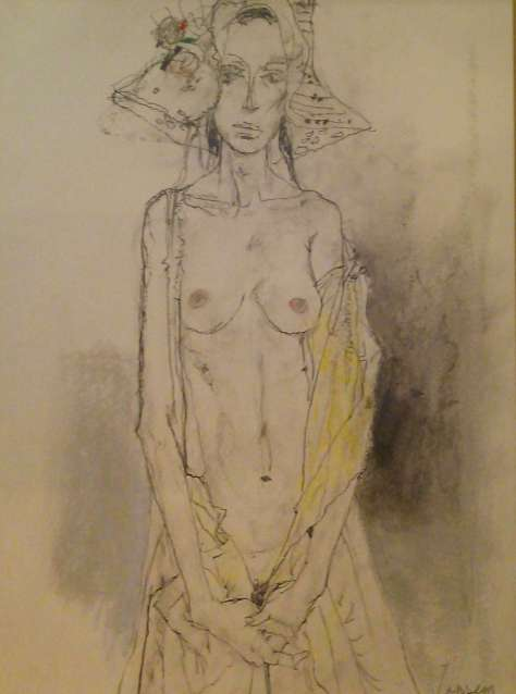 白い帽子の女性(パステル)