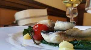 Un piatto di pesce dell'Osteria da Lucio a Monteforte Irpino