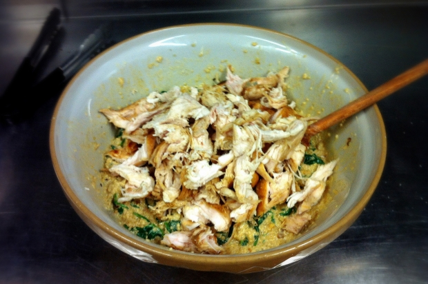 Chicken, Spinach and Quinoa Bake - Mixing the Bake
