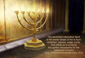 The sevenfold intensified Spirit is the seven lamps of fire to burn, enlighten, expose, judge, purify, and refine us to produce the golden lampstands for the fulfillment of God's New Testament economy (Rev. 4:5).