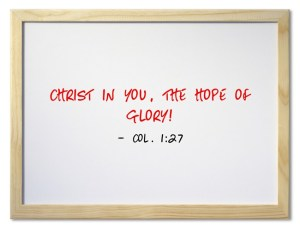 Col 1-27 Christ in you, the hope of glory