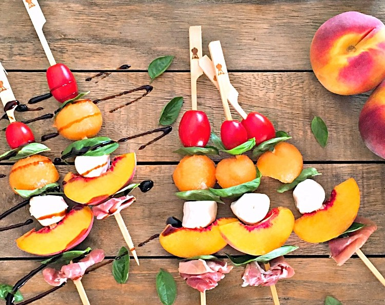 Caprese Skewers ~ fresh seasonal fruit skewered with tomatoes, basil, fresh mozzarella and a drizzle of balsamic glaze. A caprese ~ and more.