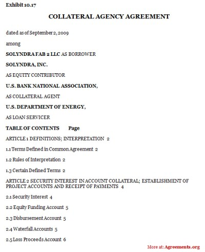 Collateral Agency Agreement, Sample Collateral Agency Agreement