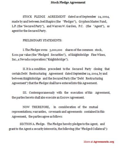 Stock Pledge Agreement- Download PDF | Agreements.org