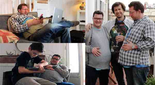 ثلاثة رجال يخوضون تجربة الحمل لمدة شهر كامل