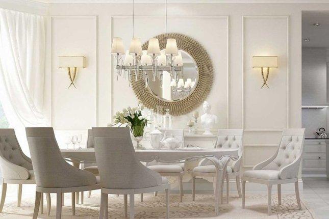 غرفة طعام باللون الأبيض
