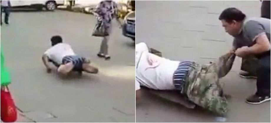 بالفيديو فضح متسول يدعي الإعاقة أمام المارة