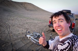 A self portrait of independent photographer and copywriter Austin Holt with mountain bikes.