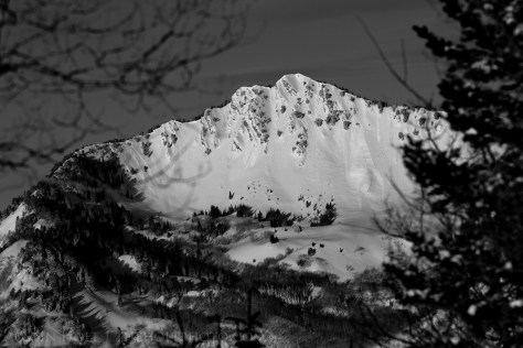A photograph of a snow-covered mountain in Utah.