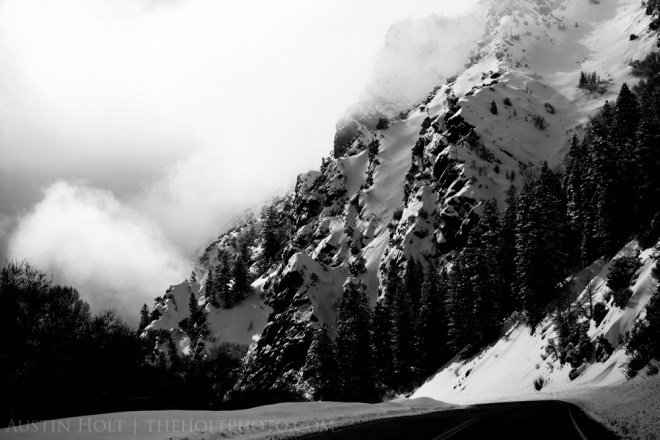 Snow-capped mountains beside the road in Big Cottonwood Canyon, Utah