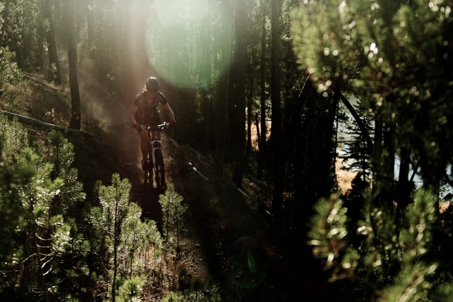 A mountain biker rides a dusty trail in Idaho.